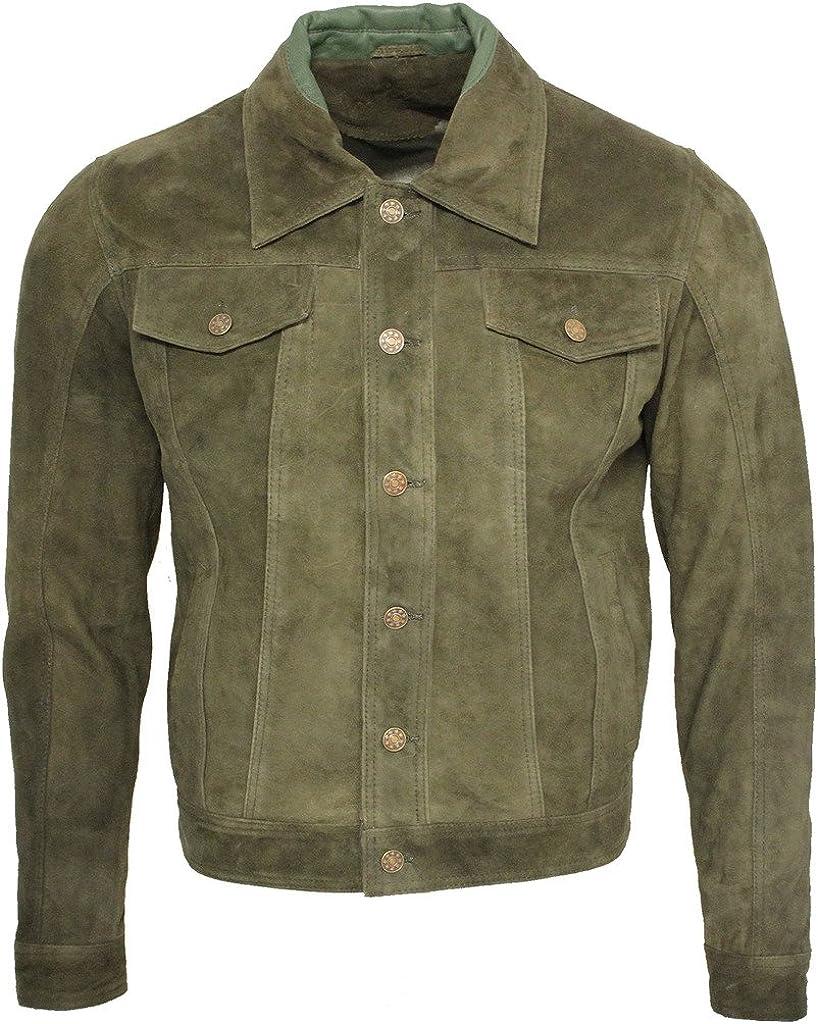 Men's Trucker Casual Khaki Goat Suede Leather Shirt Jeans Jacke