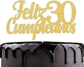 Feliz Cumpleaños 30th Birthday Cake Topper - Gold Glitter Spanish Thirty Years Old Adorno De Cake - Slaying Dirty 30 - Man Woman Trigésimo Años Cumpleaños Party Decoration