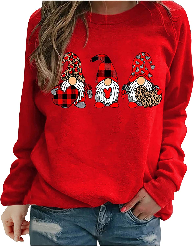 Eoailr Women Heart Print Trust Ranking TOP15 Sweatshirts Sleeve T-Shirts Crewne Long