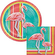Tropical Flamingo Lunch Plates & Napkins Party Kit for 8