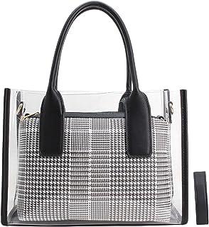 4bedeedf5e CRAZYCHIC - Sac à Main Transparent Femme - Cabas Fourre-Tout avec Pochette  PVC Plastique