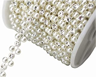 AEAOA 8mm Ivory Pearl and Rhinestone Chain Sewing Trims Cake Decoration (LZ118)