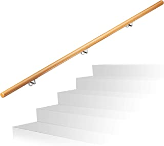 Relaxdays Wooden Handrail, Beech, 2000 mm/200 cm/2 m, Wall-Mount, with Plugs, Rustic 42 mm Diameter, Natural Banister