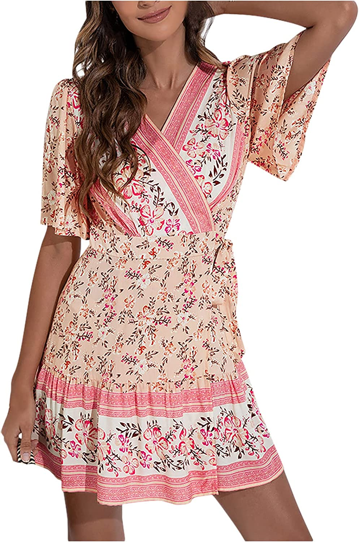 Dresses Maxi Dress Summer Dress Sundress Women Casual Short Sleeve V-Neck Vintage Print Dresses Slim Dress