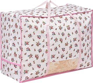 アストロ 羽毛布団収納袋 シングル・ダブル兼用 ホワイト×ピンク 花柄 洗える 清潔 大容量 透明窓 持ち手付き 820-06