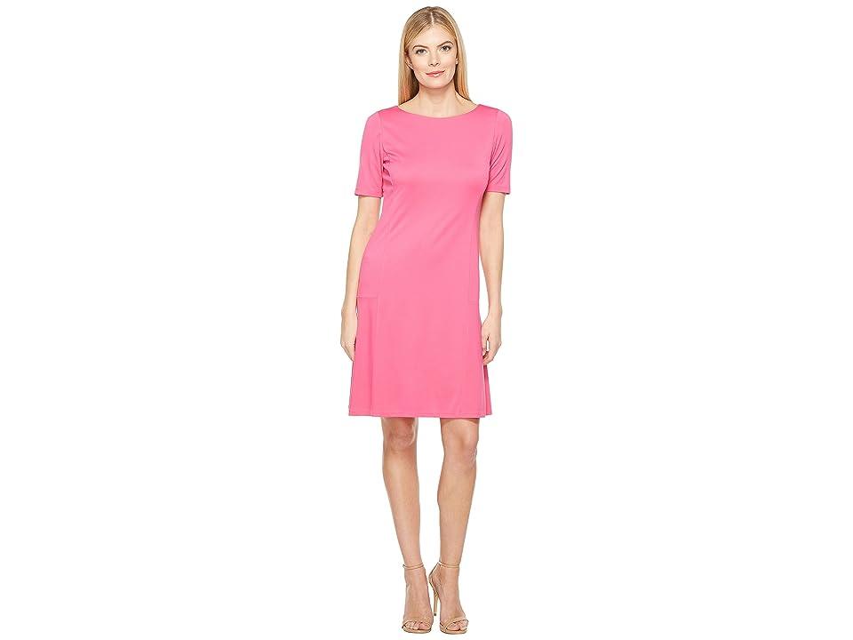 Ellen Tracy Elbow Sleeve Flounce Dress (Pink Tulip) Women