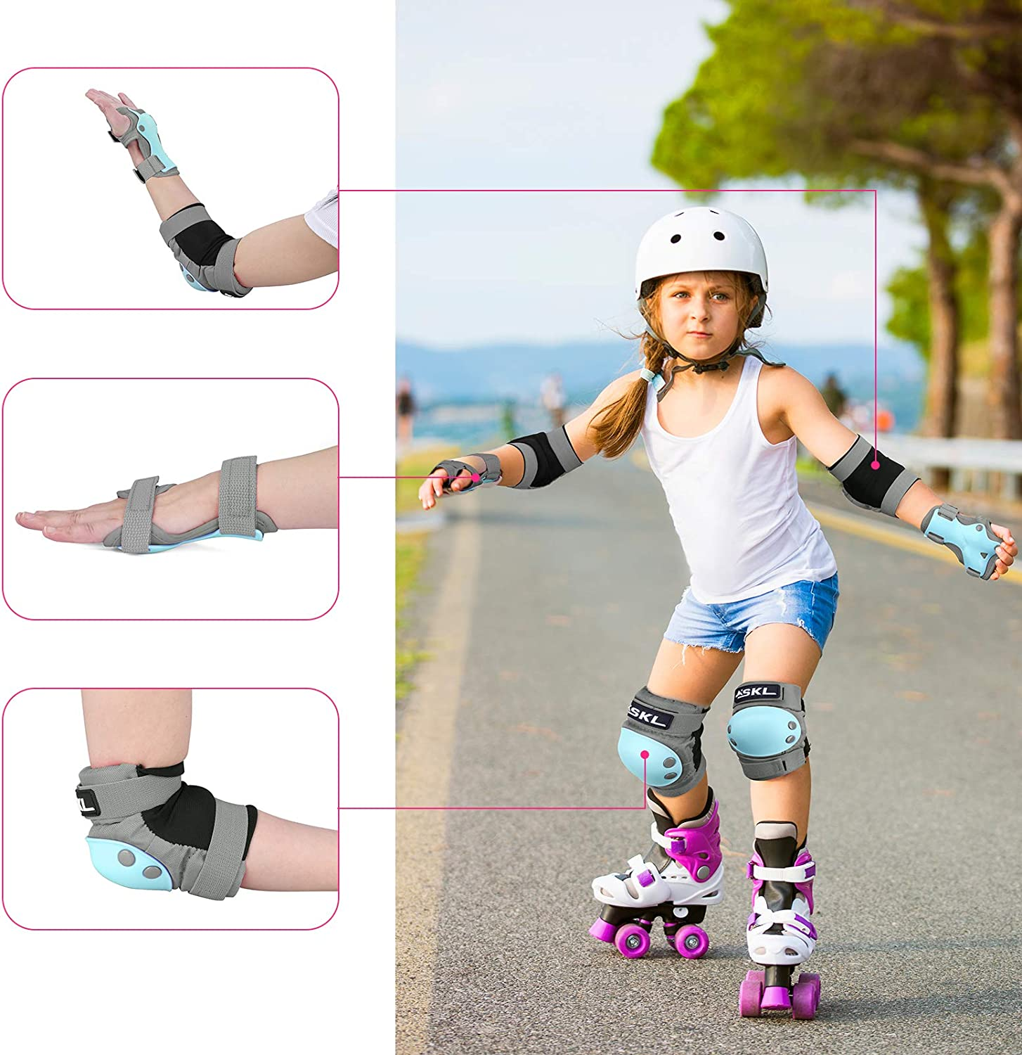 Elbow and Knee Pads Kids 6-13 Adjustable Strap for Skating Scooter Bike Riding Skateboard Cycling Rollerblading SKL Knee Pads for Kids Toddler 3 in 1 Protective Gear Set with Wrist Guards