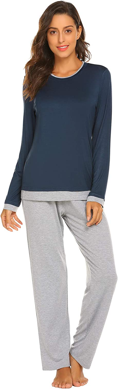 Ekouaer Pajama Set Womens Pj Two Piece Long Sleeve Sleepwear Soft Loungewear Nightwear Set S-XXL
