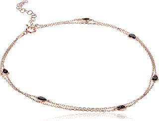 Alwan Silver (Rose Gold Plated) Long Size Anklet for Women - EE5442LRB