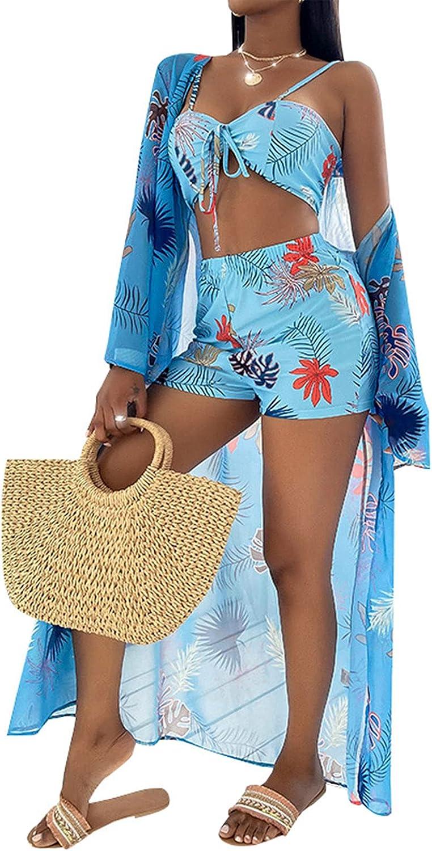 Bikini Swimsuit for Women Tie Dye Milwaukee Mall Biki Waisted OFFicial shop 3 High Pieces Set