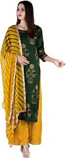 Ortange Women's Rayon Gold Printed Kurta And Palazzo With Printed Dupatta set (Green)