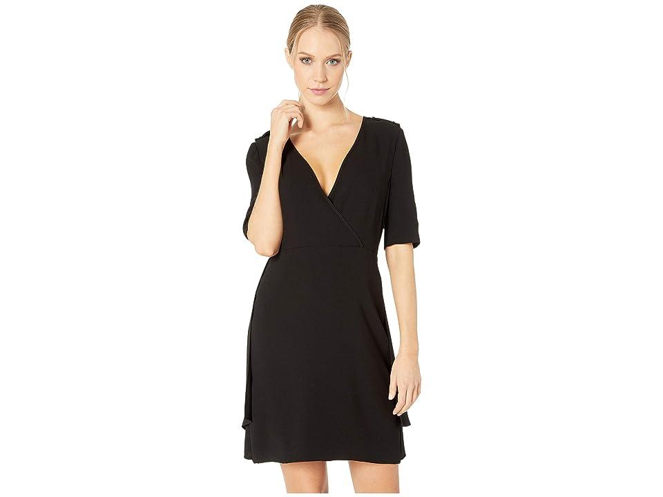 BCBGMAXAZRIA Esmerelda Wrap Front Dress (Black) Women