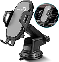 Cell Phone Holder for Car Mount - BEYYON 3-in-1 Car Phone Mount Dashboard Windshield Air Vent with Long Arm Strong Suction for iPhone 11 Pro Xs Max XR X 8, Samsug Galaxy S10+ S9 S8, LG, etc.