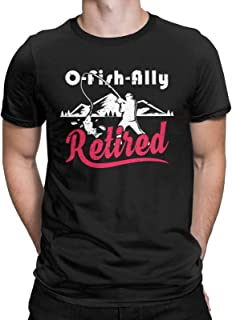 Oh-Fish-Ally Retired 2021 Graphic Funny T-Shirt Fishing Retirement Gift Tops Tees for Men