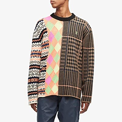 Opening Ceremony Long Sleeve Mix Argyle Sweater (Black Multi) Men