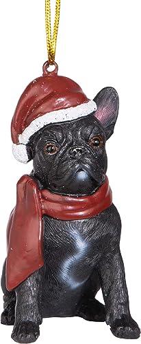 Design Toscano French Bulldog Holiday Dog Ornament Sculpture, Full Color