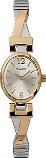 Timex ساعة كوارتز للنساء، شاشة تناظرية وحزام من الفولاذ المقاوم للصدأ - TW2U12100