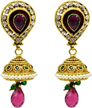 Saamarth Impex Emerald, Ruby (Created) Kundan Meena Gold Plated Dangle Earring PG-109532
