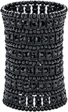 YACQ Women's Big Multilayer Stretch Cuff Bracelets Fit Wrist Size 7 to 7-4/5 Inch - Elastic Band & 6 Row Crystals Jewelry - 4 Inch Wide - Lead & Nickle Free