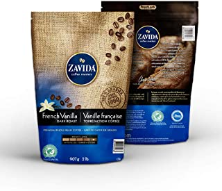 Zavida Coffee French Vanilla Dark Roast Whole Bean Coffee, 2lb