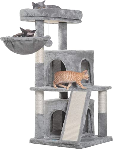 2021 Hey-brother 41.34 inches Cat Tree with Scratching Board, 2 Luxury lowest Condos, new arrival Cat Tower with Padded Plush Perch and Cozy Basket online sale