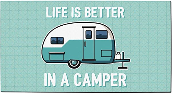 Spring Summer RV Decor Life Is Better In A Camper Rubber Welcome Mat Camper Decoration Doormat Teal