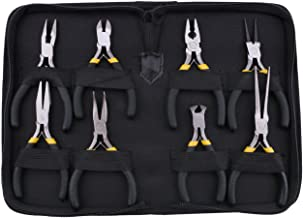 Kattool 8PCs Mini Pliers Set, Long Nose with Teeth, Flat Jaw, Round Curve Needle Diagonal Nose Wire End Cutting Cutter Linesman Plier with Black Grips & Protective Pouch