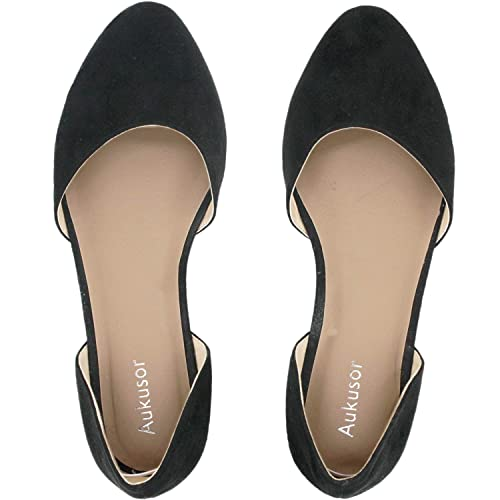 832364b1008 Aukusor Women s Wide Width Ballet Flat - Comfortable Sandals Slip On  Pointed Toe Summer Casual Shoes