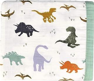 """Little Jump Dinosaur Muslin Stroller Blanket - Bamboo Summer Blanket for Toddler - Oversized 47"""" x 47"""" - 2 Layers Muslin Baby Blanket for Baby Boy (Dinosaur) … (Dinosaur)"""