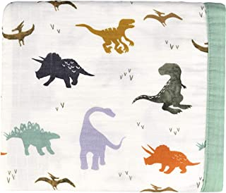 Little Jump Dinosaur Muslin Stroller Blanket - Bamboo Summer Blanket for Toddler - Oversized 47