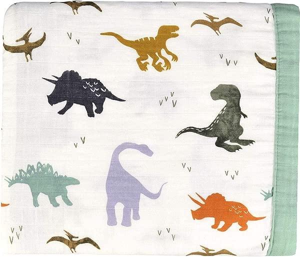 Dinosaur Muslin Stroller Blanket Bamboo Summer Blanket For Toddler Oversized 47 X 47 2 Layers Muslin Baby Blanket For Baby Boy Dinosaur Dinosaur