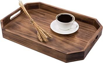MyGift Dark Brown Rustic Wood 16-Inch Tabletop Serving Tray with Cutout Handles & Beveled Edges
