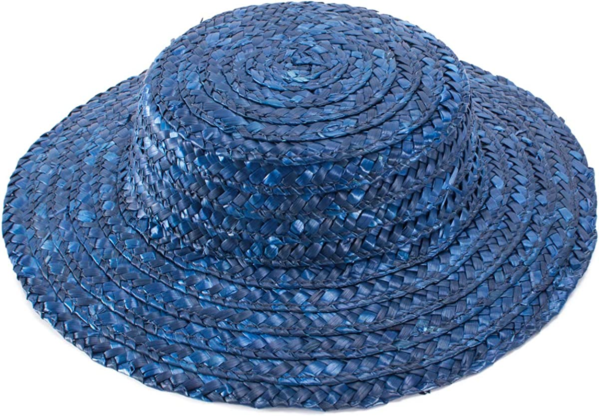 Lawliet Solid Color Straw Stripe Mini Top Hat Craft Fascinator Base Boater Cap A224