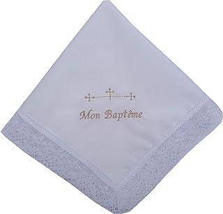 Pañuelo bautizo bordado en frances letras beige 35x35 cm