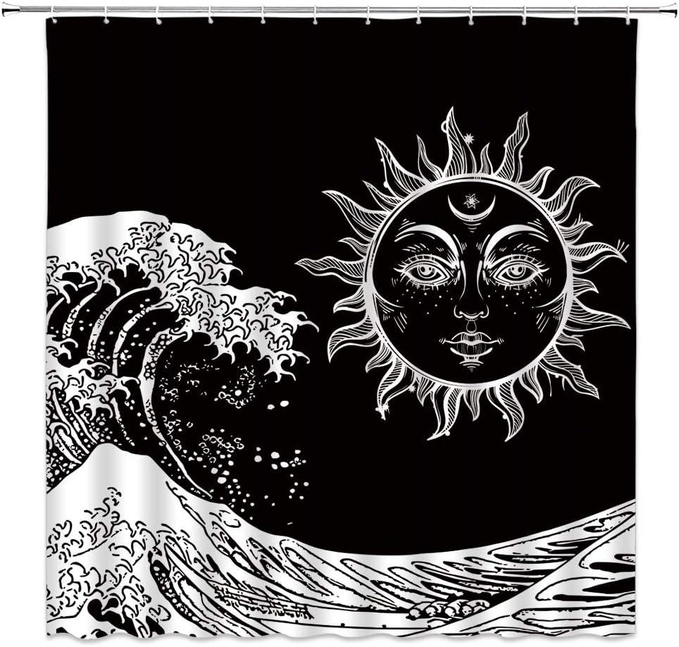 WZFashion Sun Moon Shower Curtain 販売 Su Bohemian Wave 世界の人気ブランド Burning Ocean