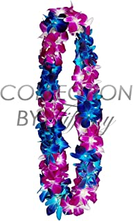Fresh Graduation Orchid Lei - Double Strand Leis (Blue Tinted & Natural Sonnia)