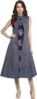 Aahwan Indian Tunic Top Kurti for Women Blue Denim and Taffteta Silk A-line Long Dress