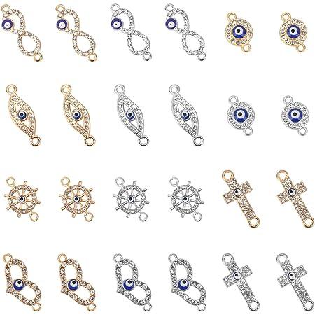 10pc Round Shape Enamel Pendant Rhinestone Number 5 Charms DIY Bracelets Jewelry