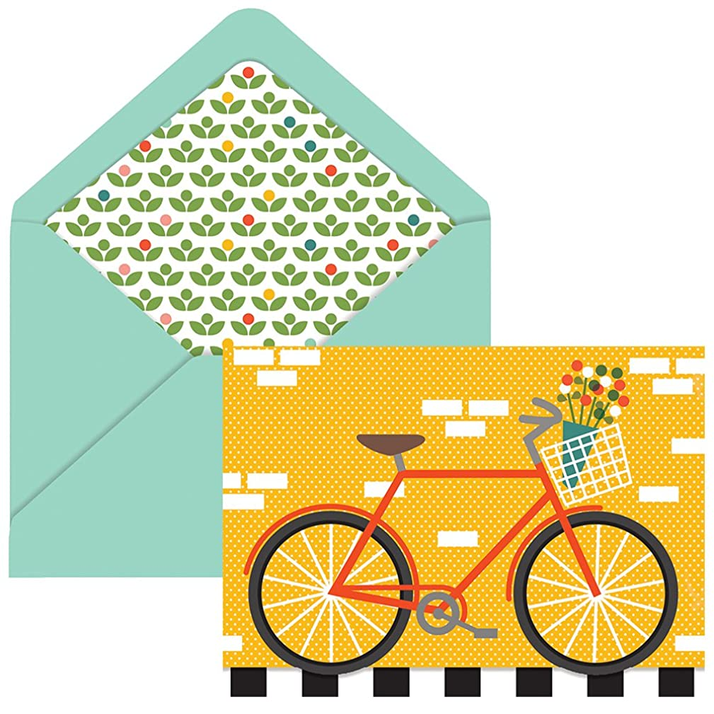 The Gift Wrap Company Bicycle Recycled Kraft Boxed Note Cards, 10 Count