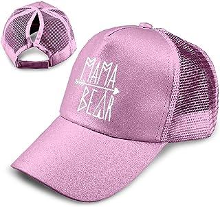 9e06019e1af6d4 LaoJi Mama Bear Ponytail Messy High Bun Hat Ponycaps Plain Baseball Visor  Cap
