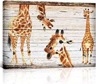 KLVOS - Animal Canvas Wall Art Dual View 3 Cute Giraffes Picture on Wood Background Girls and Boys Gifts Framed Wall Decor for Nursery Room Ready to Hang 24