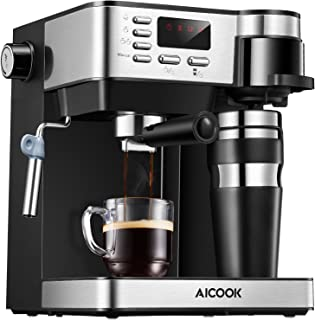 AICOOK Espresso and Coffee Machine, 3 in 1 Combination 15 Bar Espresso Machine and Single Serve Coffee Maker With Coffee Mug, Milk Frother for Cappuccino and Latte, Black