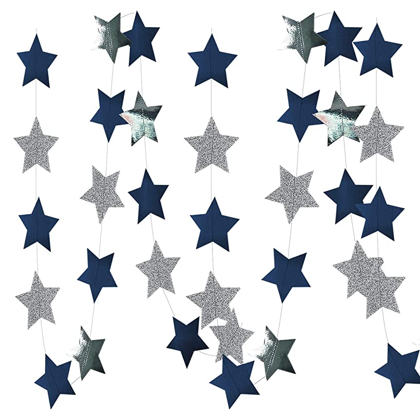 Furuix Outer Space Decorations Birthday Party Decorations 2pcs Navy Blue Glitter Silver Paper Star Garlands Star String for Baby Shower Decorations