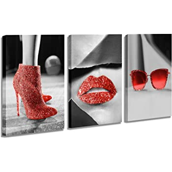 Amazon Com Wall Art Canvas Black And White Art Fashion Women Red Shine High Heels Sunglasses Red Lips Pictures Decoration Paintings For Bathroom Women S Room Wall Decor 12x16inch Posters Prints