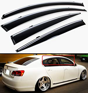 Cuztom Tuning Fits for 2006-2011 Lexus GS350 GS450H GS460 JDM VIP Clip on Smoke Window Visor Rain Guard W/Chrome Trim