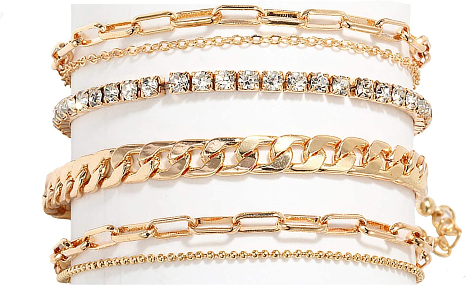 Nanafast 4-6PCS Ankle Bracelets Set for Women Gold Boho Beach Anklet Chain Adjustable Foot Jewelry for Girls Extremely Simple Style