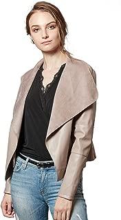 Women's Faux Leather Jackets Slim Open Front Lapel Blazer Jackets