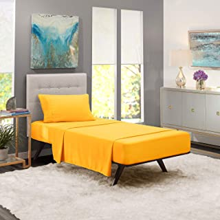 iBed Home Solid Bedding Set, Yellow, Single - 160 x 240 cm, FLTSNGL16, 2 Pieces