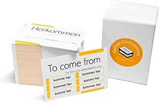 200 German Verb Conjugation Present Tense Flash Cards - Full Examples in Both German and English
