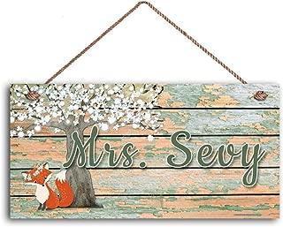 MAIYUAN Fox Under Tree Sign,Home Decoration, Classroom Door Sign, Gift for Teacher, 5